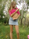 Petite Horny Brunette Stripping In The Woods - Picture 1