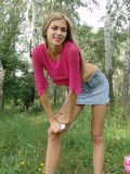 Petite Horny Brunette Stripping In The Woods - Picture 3