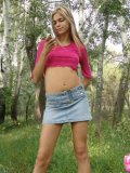 Petite Horny Brunette Stripping In The Woods - Picture 4