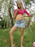 Petite Horny Brunette Stripping In The Woods - Picture 5