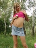 Petite Horny Brunette Stripping In The Woods - Picture 8