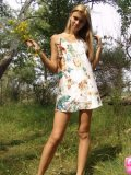 Brunette Teen With Raised Tits Fingering On Woods - Picture 7