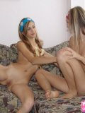 Two Hot Blonde Babes Arousing Each Others Body - Picture 13