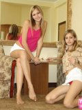 Alluring Blonde Teenagers Lickin On Lollipop - Picture 1
